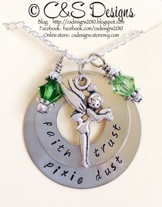 $25.00  *Faith Trust Pixie Dust*   Perfect for any Tink fan.    Tink inspired charm & 2 genuine Swarovski crystals accent this 1 & 1 1/4 stacked silver nickel washer pendant. Comes with an 18 Sterling Silver chain.    All hand stamped pendants are made to order & may have slight differences (lette...
