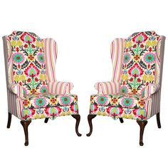 reading nook - Set of American Drexel Queen Anne Vintage Wingback Chair c. Queen Anne Furniture, Queen Anne Chair, Chair Redo, Chair Makeover, Chair Upholstery, Chair Fabric, Wingback Chairs For Sale, Swivel Chair, Teak Adirondack Chairs