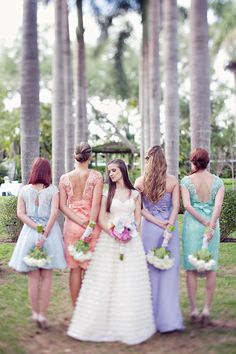 #Pastel #Bridesmaids | See the wedding on SMP - http://www.StyleMePretty.com/little-black-book-blog/2014/01/09/whimsical-pastel-coral-gables-country-club-wedding/ Laura Leslie Photography