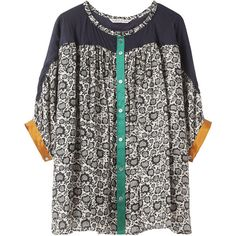 Tsumori Chisato Sunflower Cat Print Top ($299) ❤ liked on Polyvore