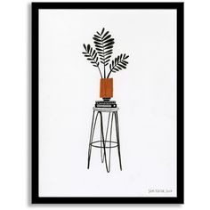 West Elm Sam Kalda Wall Art - Plant On A Stool ($199) ❤ liked on Polyvore featuring home, home decor, wall art and west elm
