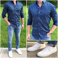 Midweek Blues  This is one of my go-to spring/summer looks. Light wash denim, crisp white sneakers, and a button down shirt worn untucked with the sleeves rolled.  Do you like this look❓  Denim: @dstld Slim Light Wash ➡️Use code CM10 to save 10% off  Sneakers: @greatsbrand Blanco Royales Shirt: @batchmens Cobalt Fizz Dot  _______________________________________________________