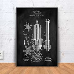 DRILL patent print drill poster drill blueprint by PrintPoint