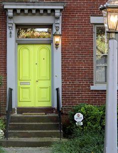 gold-leaf and neon green door