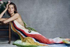 Daria Werbowy poses in multi-colored Chloe dress