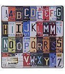 Salvaged Alphabet Letters Metal Licenses Plate Collage