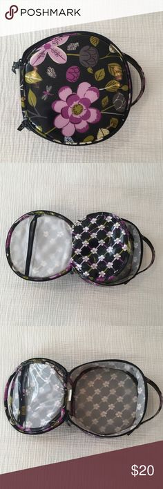Vera Bradley Round Cosmetic Gently used condition. Some makeup stains on interior. Vera Bradley Bags Cosmetic Bags & Cases