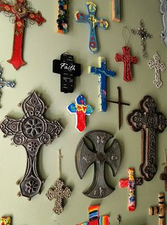 for my mom: cool idea, collect crosses from around the world and have a prayer wall as a reminder to pray for the nations