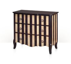 Quintessentially French ~ serpentine noir and ivory painted antiqued chest of drawers