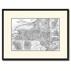 New York Vintage B&W Map Canvas Print, Picture Frame Home Decor Wall Art Gift Ideas
