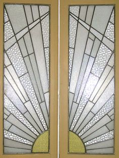 art deco stained glass french doors in typical sunburst pattern …