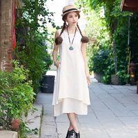 2015 Tank Sleeve Vintage Mori Girl Style White Sheer Long Dresses Casual Robe Ete Femme Retro Elegante Tunique Noire Longue