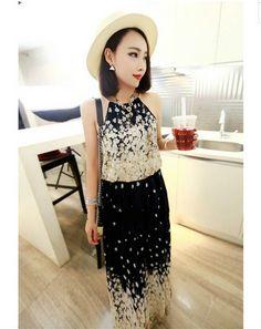 Super Beautiful Flower Gradients Raglan Strap Chiffon Dress Black  Item number:GZ14050316 Wholesale price:US$ 9.46