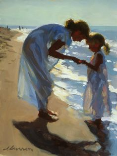 "Jeffrey T. Larson ""Beach Treasures""  oil on canvas ~ 16 x 12 inches ~ 1999"