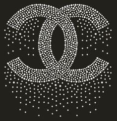 Chanel in Crystals on Black Background Rhinestone Tshirts, Rhinestone Crafts, Bling Shirts, Rhinestone Transfers, Chanel Decor, Chanel Art, Chanel Room, Chanel Wallpapers, Motifs Perler