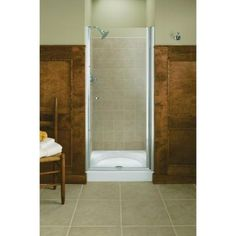 KOHLER Fluence 32-3/4 in. x 65-1/2 in. Semi-Framed Pivot Shower Door in Bright Silver with Clear Glass