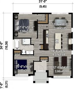 2 Bed Modern Home with Sunken Entrance - floor plan - Main Level Contemporary Style Homes, Contemporary House Plans, Modern House Plans, Small House Plans, House Plans One Story, One Story Homes, Story House, Bungalow House Plans, House Floor Plans