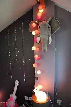 Pouic Land shop display. Ball string lights.
