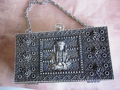 Vintage Silver Chinese Buddha Evening Bag Clutch by HollybrookLane, $49.99