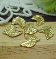 24 pcs Gold Plated rose Leaf Charms12X15mm by EggcellentCraftStore, $3.50