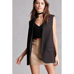 Forever21 Blush Noir Blazer Vest ($24) ❤ liked on Polyvore featuring outerwear, vests, black, v neck vest, blazer jacket, forever 21 blazer, sleeveless vest and sleeveless blazer vest