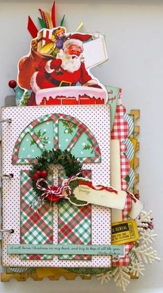 I love how Santa is peeking out of this mini #scrapbook.
