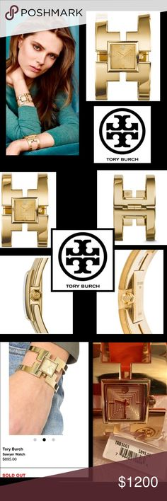🦋ToryBurch🦋SawyerGoldenBangleWatch🦋DISCONTINUED A super-chic cuff inspired by one of Tory's favorite pieces of vintage jewelry, the Sawyer makes a statement🦋The inlaid square case feature🦋Gold-tone stainless steel 38mm Tory Burch Sawyer watch featuring a Swiss quartz movement with smooth bezel, textured dial,open bangle bracelet and slide lock closure. Includes box and manual🦋Scratch resistant🦋Tory Burch TRB5001 Stainless Steel Watch DISCONTINUED🦋☺️ Tory Burch Accessories Watches