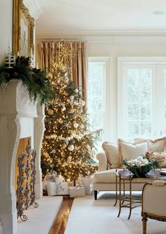 White, champagne, and gold Christmas tree