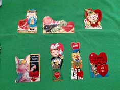 Lot of 7 1960's Valentines Bright Colors