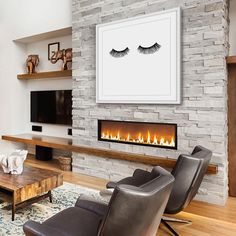 31 Stunning Living Room Design Ideas With Fireplace To Keep Warm In Winter - While they may be a rarity in warmer climes, most houses in the colder parts of the United States almost always have a fireplace in the living room. Fireplace Shelves, Fireplace Remodel, Modern Fireplace, Living Room With Fireplace, Fireplace Design, Fireplace Ideas, Linear Fireplace, Brick Fireplace, Styling Bookshelves