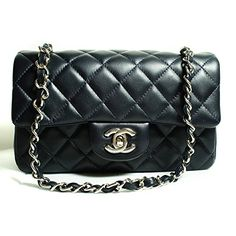 CHANEL Women's Black Quilted Lambskin Classic Mini Flap Bag - Handbag