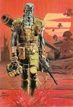 Rogue Trooper by Dave Gibbons, from the 1991 Rogue Trooper Annual. Comic Book Artists, Comic Artist, Comic Books Art, Comic Character, Character Design, 2000ad Comic, Science Fiction Kunst, Dave Gibbons, Comic Kunst