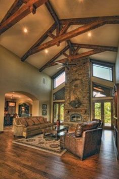 Metal homes, building a house, family room design, rustic family rooms Metal Building Homes, Building A House, Building Ideas, Metal Homes, Cabin Homes, Log Homes, Style At Home, Pole Barn Homes, Family Room Design
