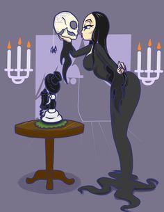 A rather quick drawing of Anjelica Huston as Morticia Addams. Morticia Addams, Gomez And Morticia, Halloween Garland, Halloween Art, The New Yorker, Adams Family, Halloween Cartoons, Cartoon Tv, My Spirit Animal