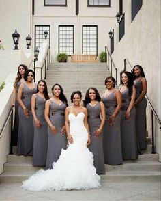 Stunning and Gorgeous Wedding Ideas Bridesmaid Wedding Poses, Wedding Attire, Wedding Dresses, Wedding Ideas, Wedding Bride, Bridesmaid Gowns, Brides And Bridesmaids, African American Weddings, Black Bride