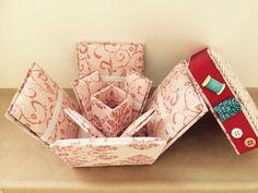 Caixa de costura em cartonagem, fruto de uma aula que ministrei