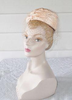 1960s Vintage Peach Taffeta Mini Pillbox Hat by MyVintageHatShop