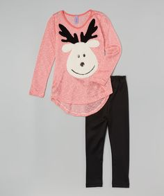 Look what I found on #zulily! Pink Snow Deer Tunic & Leggings - Toddler & Girls by Maya Fashion #zulilyfinds