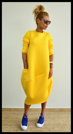 Yellow loose tunic / Oversize neoprene dress / Maxi long tunic / Long sleeves yellow top by ClothesByLockerRoom on Etsy