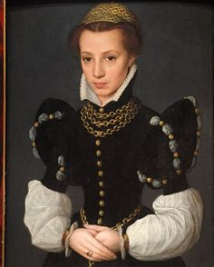 "These #sleeves are the best.  ______________________________________  Attributed to Caterina van Hemessen, ""Portrait of a Young Lady,"" ca. 1560s, oil on wood panel.  _________________________________________ #caterinavanhemessen #portrait #portraiture #16thcenturyart #flemishart #posing #northernrenaissance #16thcenturystyle #16thcenturyfashion #jewelryinart #necklace #jewelry #blackandwhite #jewelryinart #fashionable #rings #accessories #goldbuttons #bracelet #neckchain #puffysleeves…"