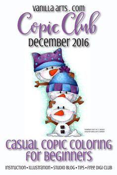 Copic Club: Beginner & Casual Coloring- The Secret of Snow! — Vanilla Arts Co. Copic Marker Art, Copic Pens, Copic Art, Sketch Markers, Copics, Coloring Tips, Coloring Books, Copic Markers Tutorial, Free Adult Coloring