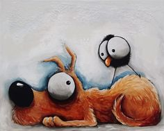 Original acrylic canvas painting whimsical modern art animal Dog puppy blackcrow #Modernism