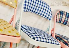 This is an AWESOME #DIY by a friend of mine. So going to give this a try - as soon as I can convince someone to buy me a bunch of folding chairs! My Fabuless Life: Party Pretty Folding Chairs