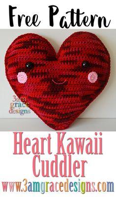 Free Heart Kawaii Cuddler crochet pattern, Valentine Valentine's Day