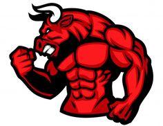 Illustration about Vector of huge muscle of red bull. Illustration of longhorn, angry, bull - 66917964 Bodybuilding Logo, Bull Images, Taurus Bull, Bull Tattoos, Bull Logo, Gym Logo, Graffiti Characters, Mascot Design, Red Bull