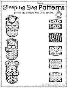 Sleeping Bag Pattern Match. - Pre-k Camping Worksheets