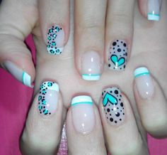 Nails for kids, crazy nails, love nails, pretty nails, color turquesa Crazy Nails, Love Nails, My Nails, Nail Art Stripes, Striped Nails, French Tip Nails, Easy Nail Art, Trendy Nails, Nail Arts