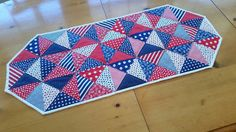 Patriotic Quilted Table Runner, Red White Blue,Table Linens, 4th of July, Memorial Day, Stars and Stripes, Summer Table Runner, Home Decor