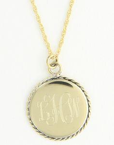 Medium Braided Edge Round Goldtone Monogram Necklace