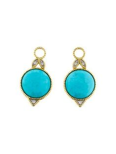 Jude Frances Large Pear Turquoise Earring Charms with Diamonds jhkzT